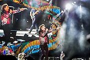 HAVANA, CUBA - MARCH 25, 2016: Mick Jagger performs with The Rolling Stones at Ciudad Deportiva on March 25, 2016 in Havana, Cuba. The Rolling Stones performance is the first by a major international rock band in Cuba, coming days after a historic visit by President Barack Obama of the United States, and a game between the Tampa Bay Rays and the Cuban National Team at Estadio Latinoamericano. The Cuban government banned rock music on Cuban state TV and radio following the Cuban the revolution, and nearly a half-million people are in attendance to be part of the historic event. (Photo by Jean Fruth)