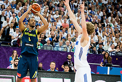 Lauri Markkanen of Finland vs Anthony Randolph of Slovenia during basketball match between National Teams of Finland and Slovenia at Day 3 of the FIBA EuroBasket 2017 at Hartwall Arena in Helsinki, Finland on September 2, 2017. Photo by Vid Ponikvar / Sportida