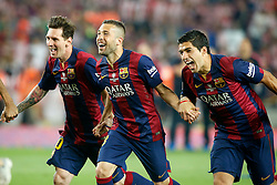 30.05.2015, Camp Nou, Barcelona, ESP, Copa del Rey, Athletic Club Bilbao vs FC Barcelona, Finale, im Bild FC Barcelona's Leo Messi, Jordi Alba and Luis Suarez celebrate the victory // during the final match of spanish king's cup between Athletic Club Bilbao and Barcelona FC at Camp Nou in Barcelona, Spain on 2015/05/30. EXPA Pictures &copy; 2015, PhotoCredit: EXPA/ Alterphotos/ Acero<br /> <br /> *****ATTENTION - OUT of ESP, SUI*****