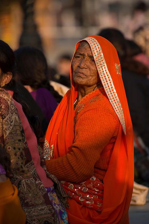 Asia, India, Punjab, Amritsar,India Pakistani border ceremony,Wagah border ceremony, woman watching parade
