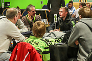 Forest Green Rovers Carl Winchester(7) with his kit sponsor during the EFL Sky Bet League 2 match between Forest Green Rovers and Carlisle United at the New Lawn, Forest Green, United Kingdom on 28 January 2020.