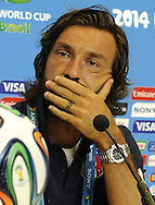 Italy captain Andrea Pirlo during a press conference at Arena das Dunas, Natal<br />
