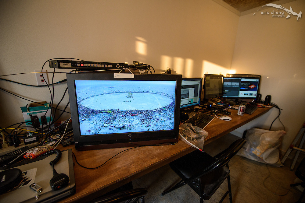 The aerial live stream of the Embrace burn from the webcast1 streaming container. Burning Man 2014. Photo: George Krieger