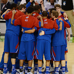 Apr 2, 2012; New Orleans, LA, USA; The Kansas Jayhawks huddle before the start of the finals of the 2012 NCAA men's basketball Final Four against the Kentucky Wildcats at the Mercedes-Benz Superdome. Mandatory Credit: Derick E. Hingle-US PRESSWIRE