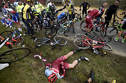 March 23, 2018 - Harelbeke, BELGIUM - Riders pictured after a fall during the 61st edition of the 'E3 Prijs Vlaanderen Harelbeke' cycling race, 206,5 km from and to Harelbeke. (Credit Image: © Panoramic via ZUMA Press)