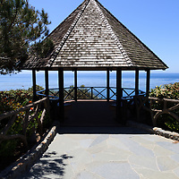 Photo of a waterfront gazebo along the Pacific Ocean at Heisler Park in Laguna Beach in Orange County Southern California.