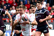 Hull Kingston Rovers half back Chris Atkin (24) with the ball during the Betfred Super League match between Hull Kingston Rovers and Leeds Rhinos at the Lightstream Stadium, Hull, United Kingdom on 29 April 2018. Picture by Mick Atkins.