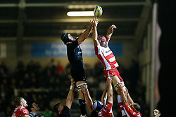 Newcastle Lock Dom Barrow and Gloucester Lock Tom Palmer compete at a lineout - Photo mandatory by-line: Rogan Thomson/JMP - 07966 386802 - 21/11/2014 - SPORT - RUGBY UNION - Newcastle upon Tyne, England - Kingston Park - Newcastle Falcons v Gloucester Rugby - Aviva Premiership.