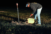 U.S. Forest Service biologist, J.C. Woodard, releases a Black-footed ferret, during a population survey and plague vaccination campaign near Wall, South Dakota, USA