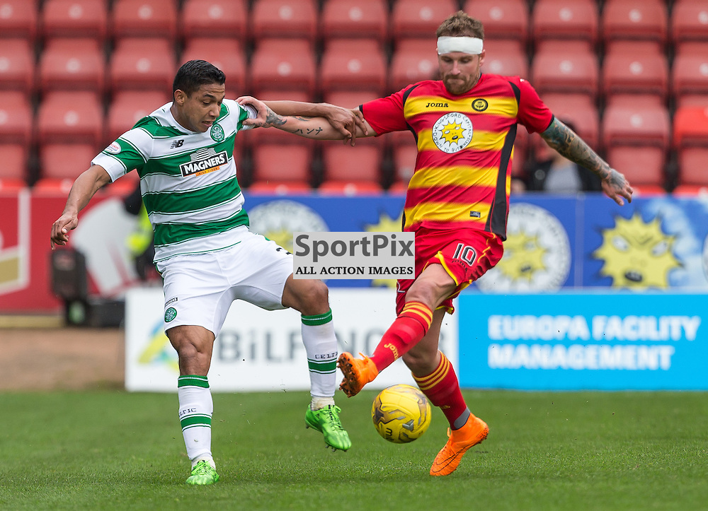 Emilio Izaguirre and Ryan Stevenson challenge for the ball during the Scottish Premiership match between Partick Thistle and Celtic (c) ROSS EAGLESHAM | Sportpix.co.uk