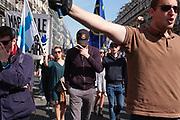 "France, Paris, 8 May 2016. Royalist group ""Action Française"" 's traditional march. Activists march toward the Jeanne d'Arc statue at Place des Pyramides."