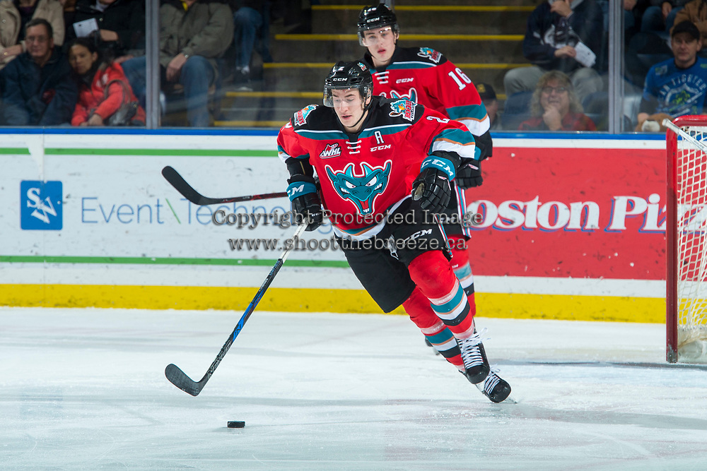 KELOWNA, CANADA - DECEMBER 2: James Hilsendager #2 of the Kelowna Rockets skates with the puck during first period against the Kootenay Ice on December 2, 2017 at Prospera Place in Kelowna, British Columbia, Canada.  (Photo by Marissa Baecker/Shoot the Breeze)  *** Local Caption ***