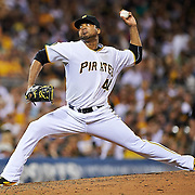 Pittsburgh Pirates starting pitcher Francisco Liriano (47) throws against the St. Louis Cardinals at PNC Park in Pittsburgh on August 25, 2014. © 2014 Shelley Lipton.