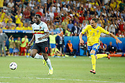 Belgium forward Romelu Lukaku (9) is through on goal during the Euro 2016 match between Sweden and Belgium at Stade de Nice, Nice, France on 22 June 2016. Photo by Andy Walter.