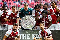 Arsenal celebrate after winning the Community Shield in a penalty shootout - Rogan Thomson/JMP - 06/08/2017 - FOOTBALL - Wembley Stadium - London, England - Arsenal v Chelsea - FA Community Shield.