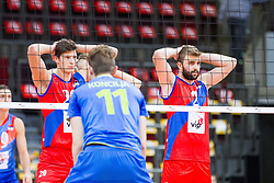 25.09.2015, MHP Aren, Ludwigsburg, GER, Volleyball Vier Nationen Turnier, Slowenien vs Serbien, im Bild bereit fuer den Spielzug: Srecko Lisinac #20 (Serbien/Serbia) und Uros Kovacevic #2 (Serbien/Serbia) // during the match between Slovenia and Serbia of the Volleyball four Nations Tournament at the MHP Aren in Ludwigsburg, Germany on 2015/09/25. EXPA Pictures © 2015, PhotoCredit: EXPA/ Eibner-Pressefoto/ Wuechner<br /> <br /> *****ATTENTION - OUT of GER*****