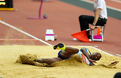 London, August 11 2017 . Tianna Bartoletta, USA, in the women's long jump final on day eight of the IAAF London 2017 world Championships at the London Stadium. © Paul Davey.