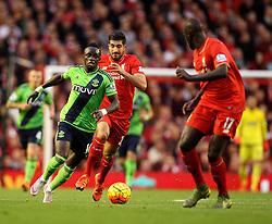 Sadio Mane of Southampton takes on Mamadou Sakho of Liverpool - Mandatory byline: Robbie Stephenson/JMP - 07966 386802 - 25/10/2015 - FOOTBALL - Anfield - Liverpool, England - Liverpool v Southampton - Barclays Premier League