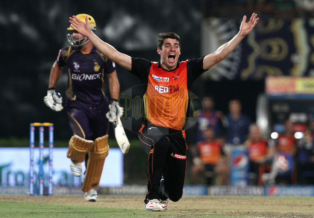 Sunrisers Hyderabad player Moises Henriques appeals unsuccessfully during match 38 of the Pepsi IPL 2015 (Indian Premier League) between The Kolkata Knight Riders and The Sunrisers Hyderabad held at Eden Gardens Stadium in Kolkata, India on the 4th May 2015.<br /> <br /> Photo by:  Vipin Pawar / SPORTZPICS / IPL