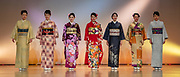 Nishijin Textile Center regularly presents beautiful kimono fashion shows, in Kyoto, Japan.