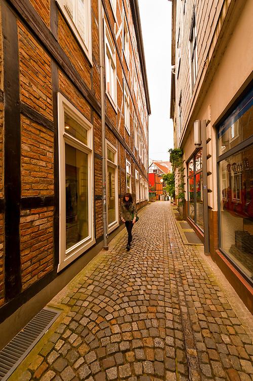 A narrow street in Schwerin, Mecklenburg-West Pomerania, Germany