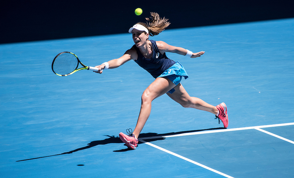 Johanna Konta of Great Britain on day ten of the 2017 Australian Open at Melbourne Park on January 25, 2017 in Melbourne, Australia.<br /> (Ben Solomon/Tennis Australia)