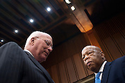 "Senator PATRICK LEAHY (D-VT) and  Rep. JOHN LEWIS (D-GA) confer before a Senate Judiciary Committee hearing on the ""Respect for Marriage Act: Assessing the Impact of DOMA (Defense of Marriage Act) on American Families,"" to repeal DOMA and restore the rights of all lawfully married couples, including same-sex couples, to receive the benefits of marriage under federal law."