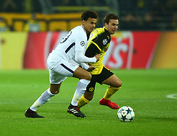 November 21, 2017 - Dortmund, Germany - Mario Gotze of Borussia Dortmund under pressure from Tottenham Hotspur's Dele Alli. during UEFA Champion  League Group H Borussia Dortmund between Tottenham Hotspur played at Westfalenstadion, Dortmund, Germany 21 Nov 2017  (Credit Image: © Kieran Galvin/NurPhoto via ZUMA Press)