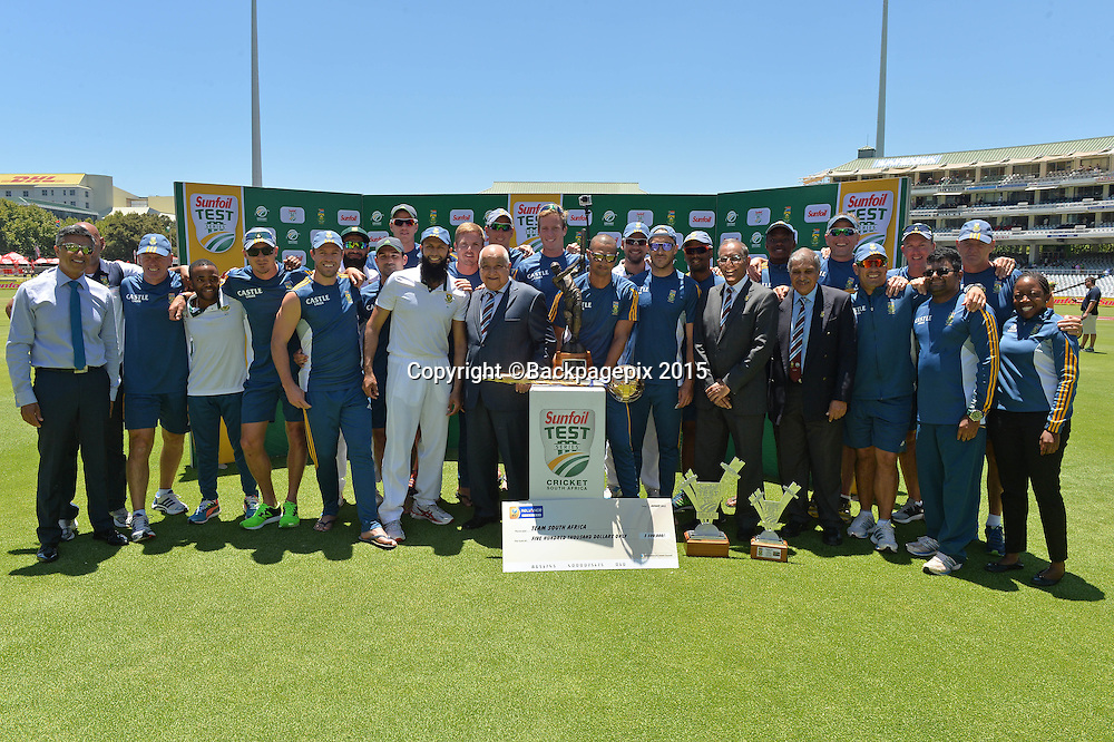 South Africa celebrate winning during Day 5 of the 2015 Sunfoil Test Series Cricket Match between South Africa and the West Indies at Newlands Stadium, Cape Town on 5 January 2015 ©Chris Ricco/BackpagePix