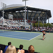 2017 U.S. Open - August 28. DAY ONE. A general view showing Arthur Ashe stadium as Alize Cornet of France plays against Heather Watson of Great Britain on court four during the Women's Singles round one match at the US Open Tennis Tournament at the USTA Billie Jean King National Tennis Center on August 28, 2017 in Flushing, Queens, New York City. (Photo by Tim Clayton/Corbis via Getty Images)