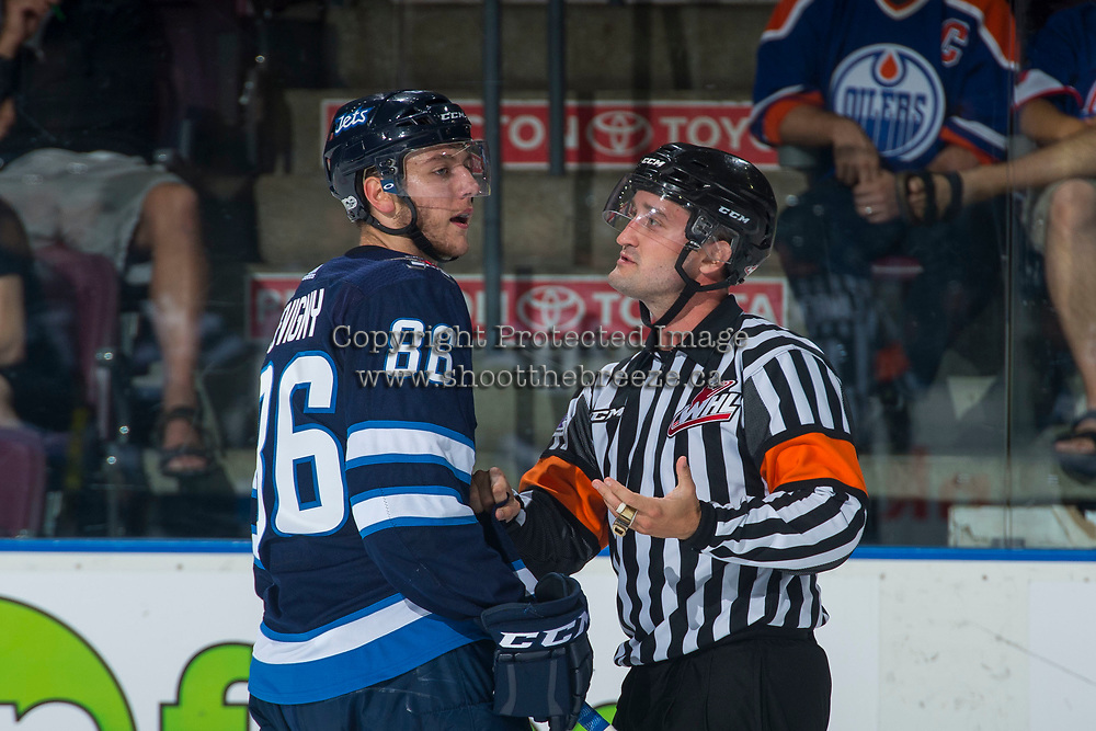 PENTICTON, CANADA - SEPTEMBER 8: Mathieu Sevigny #86 of Winnipeg Jets calls to a player of the Vancouver Canucks on September 8, 2017 at the South Okanagan Event Centre in Penticton, British Columbia, Canada.  (Photo by Marissa Baecker/Shoot the Breeze)  *** Local Caption ***