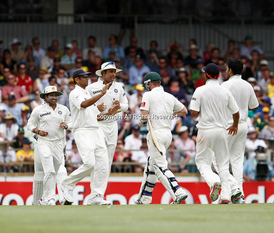14.01.2012. Perth, Australia.  Indian Players celebrate the dismissal of Brad Haddin during the second day of the third Test between Australia and India at the WACA ground in Perth Western Australia.