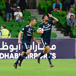 Rhys Williams of Melbourne Victory FC equalises in the opening minutes of the 2nd half (3:3)  -  AFC Champions League, 13 February 2018, Group F, Melbourne Victory FC v Ulsan Hyundai at Melbourne Rectangular Stadium (Aami Park), Australia |© Mark Avellino | SportPix.org.uk
