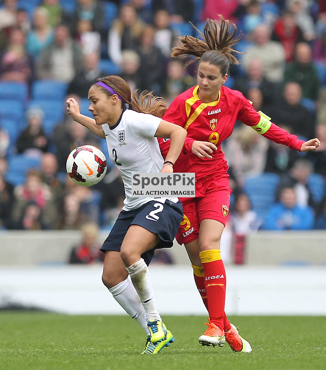 England's Alex Scott during the FIFA Women's World Cup qualifier match between England and Montenegro at the American Express Community Stadium, Brighton, 5th April 2014 © Phil Duncan | SportPix.org.uk