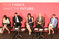 © Licensed to London News Pictures. 18/07/2015. Brighton, UK. Labour party leader candidates, Jeremy Corbyn MP, Andy Burnham, Yvette Cooper and Liz Kendal answer questions from the public at the Hustings event in Brighton's Metropole Hotel on Saturday July 18th. Photo credit : Hugo Michiels/LNP