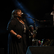 """Jools Holland and his rhythm & blues orchestra with special guests Pauline Black & Arthur """"Gaps"""" Hendrickson from The Selector and guest vocalists Ruby Turner, Louise Marshall and Mabel Ray performs at Kew the Music 2019 on 11 July 2019, London, UK."""