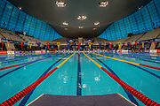 General inside view of the Aquatics Centre pool from the Lane 5 starting block during the World Para Swimming Championships 2019 Day 3 held at London Aquatics Centre, London, United Kingdom on 11 September 2019.