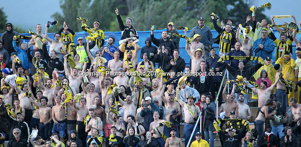 Shirts off for the Phoenix during the A-League football match between the Wellington Phoenix & Adelaide United, at the Hutt Recreational Ground, Wellington, 7th March 2015. Copyright Photo.: Grant Down / www.photosport.co.nz
