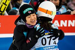Sara Takanashi of Japan celebrates during Team Competition at Day 2 of World Cup Ski Jumping Ladies Ljubno 2019, on February 9, 2019 in Ljubno ob Savinji, Slovenia. Photo by Matic Ritonja / Sportida