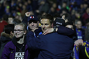Neal Ardley celebrates with fans during the Sky Bet League 2 play-off second leg match between Accrington Stanley and AFC Wimbledon at the Fraser Eagle Stadium, Accrington, England on 18 May 2016. Photo by Pete Burns.