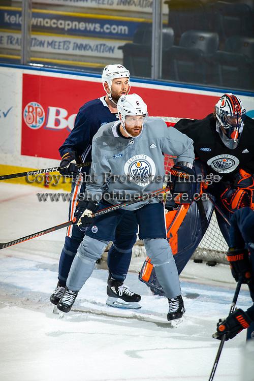 KELOWNA, BC - SEPTEMBER 22:  Zack Kassian #44 back checks Adam Larsson #6 of the Edmonton Oilers during practice at Prospera Place on September 22, 2019 in Kelowna, Canada. (Photo by Marissa Baecker/Shoot the Breeze)
