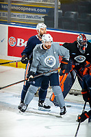 KELOWNA, BC - SEPTEMBER 22:  Zack Kassian #44 back checks Adam Larsson #6 of the Edmonton Oilers during practice at Prospera Place on September 22, 2019 in Kelowna, Canada. (Photo by Marissa Baecker/Shoot the Breeze)