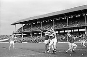 02/11/1969<br /> 11/02/1969<br /> 2 November 1969<br /> Oireachtas Hurling Final: Cork v Kilkenny at Croke Park, Dublin.<br /> Kilkenny back, T. Carrall, tackling Cork forwrad, E. OBrien.