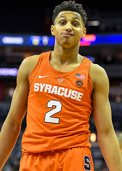 WASHINGTON, D.C. - DECEMBER 16:  Syracuse Orange forward Matthew Moyer (2) makes a face as time winds down in overtime on December 16, 2017, at the Capital One Arena in Washington, DC.  The Syracuse Orange defeated the Georgetown Hoyas 86-79 in overtime.  (Photo by Mark Goldman/Icon Sportswire)