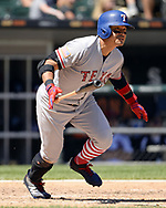 CHICAGO - JULY 02:  Shin-Soo Choo #17 of the Texas Rangers bats against the Chicago White Sox on July 2, 2017 at Guaranteed Rate Field in Chicago, Illinois.  The White Sox defeated the Rangers 6-5.  (Photo by Ron Vesely) Subject:   Shin-Soo Choo