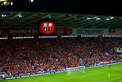 CARDIFF, WALES - Thursday, September 6, 2018: The scoreboard records Wales' 4-1 victory during the UEFA Nations League Group Stage League B Group 4 match between Wales and Republic of Ireland at the Cardiff City Stadium. (Pic by Laura Malkin/Propaganda)