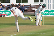 WICKET - Richard Gleeson catches Hassan Azad during the Specsavers County Champ Div 2 match between Leicestershire County Cricket Club and Lancashire County Cricket Club at the Fischer County Ground, Grace Road, Leicester, United Kingdom on 23 September 2019.