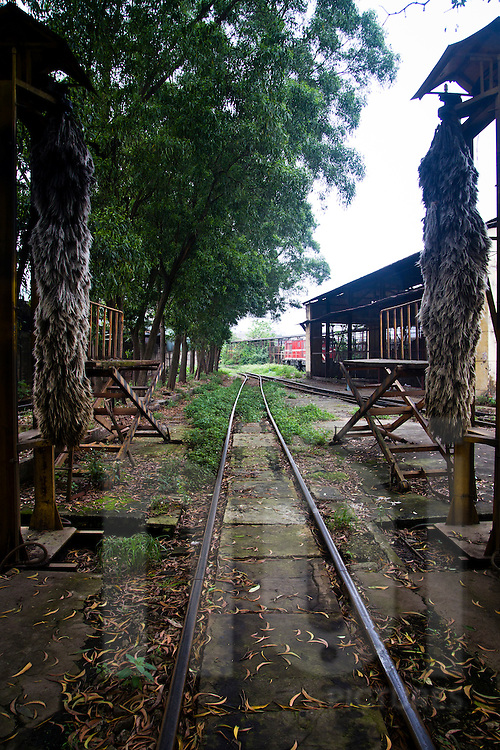 Area for washing trains in the Railway Worker's Khu Tap The, Hanoi, Vietnam, Asia