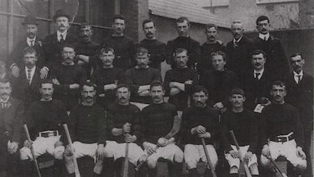 Cork (Blackrock) All-Ireland Hurling Champions 1902. Back Row: J Leahy, J Morley, J Kidney, J Desmond, W Mackessy, J Kelleher, D Buckley, C E Murphy, D Meagher. Middle Row: P Coughlan, J Coughlan, P O'Sullivan, D McGrath, W Hennessy, W O'Neill, J McCarthy (referee), P Twohig. Front Row: W Parfry, Larry Flaherty, J O'Leary, T Coughlan, S Riordan (capt), D O'Keeffe, A Buckley, M O'Leary.