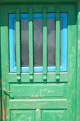 Blue and Green painted door in Greece
